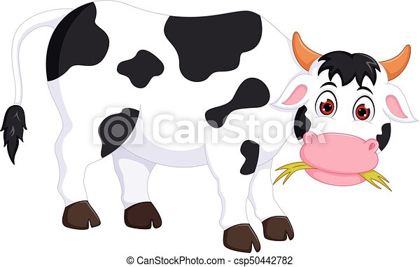 funny cow cartoon standing with eating grass - csp50442782