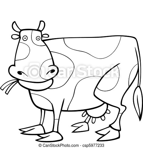 Illustration of funny cow for coloring book.