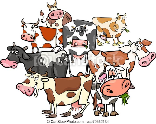 funny cows cartoon farm animals group - csp70562134