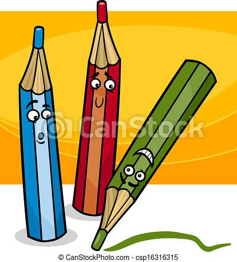 funny crayons cartoon illustration - csp16316315