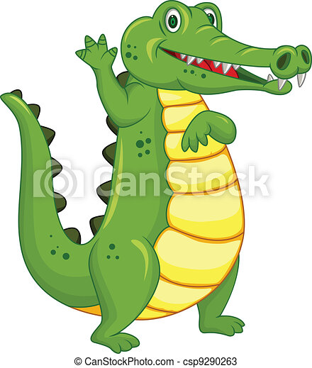 Funny crocodile cartoon - csp9290263
