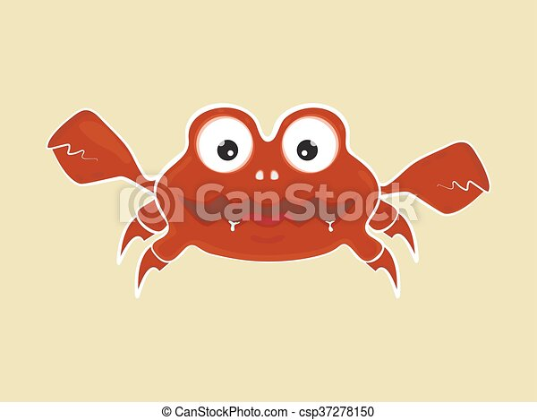 funny cute cartoon angry crab vector illustration - csp37278150