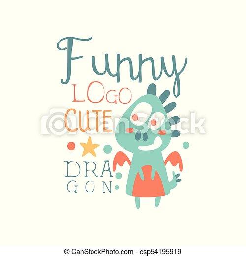 Funny Cute Dragon Logo Baby Shop Label Fashion Print For Vector