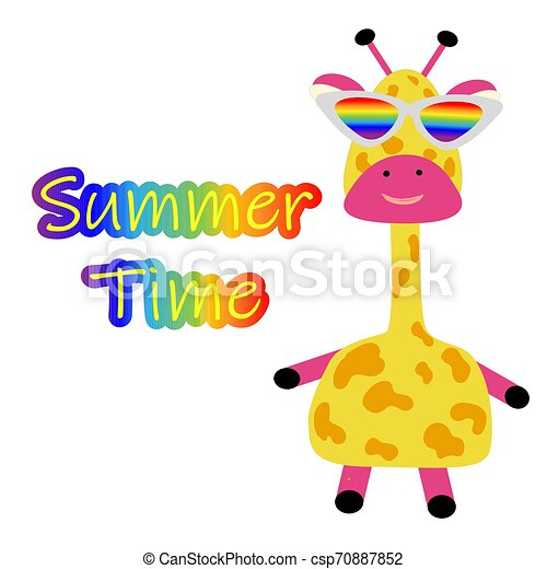 Funny Cute Giraffe With Glasses And The Inscription Summer Time Poster For A Summer Party Beach And Children S Holiday