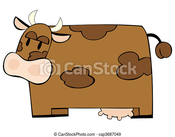 Funny dairy cow. - csp3687049