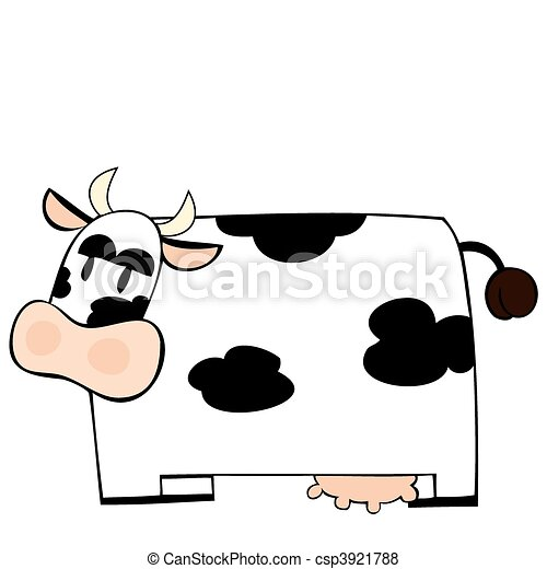 Funny dairy cow. - csp3921788