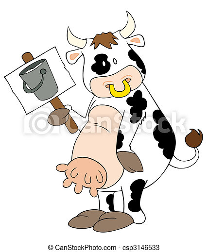 Funny dairy cow with placard. - csp3146533