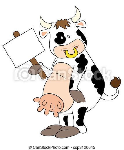 Funny dairy cow with white placard. - csp3128645