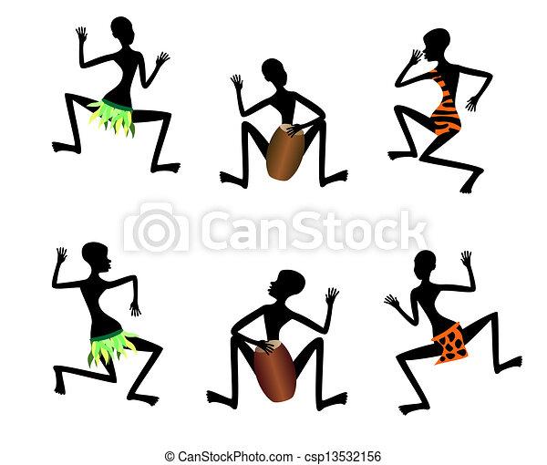 Funny dance of black people, vector - csp13532156