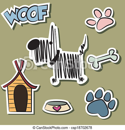 Funny Dog and accessory sticker set - csp18702678