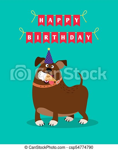 Funny Dog And Ice Cream Card Happy Birthday Card Template With Funny Cartoon Dog Holding Ice Cream Vector Illustration