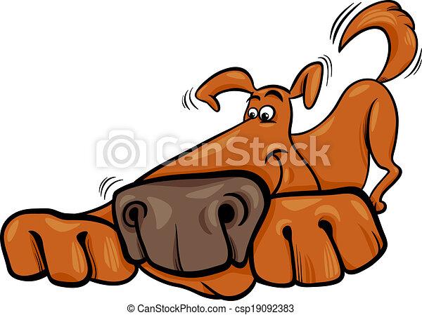 funny dog cartoon illustration - csp19092383