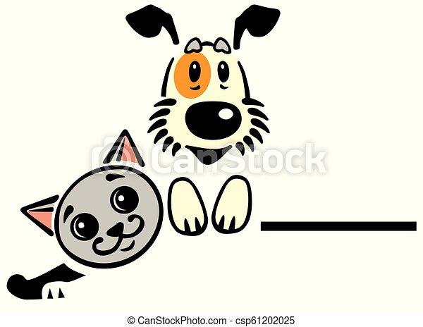 Funny Dog Cat Logo Cartoon Puppy Dog And Cat Vector Logo Icon Emblem
