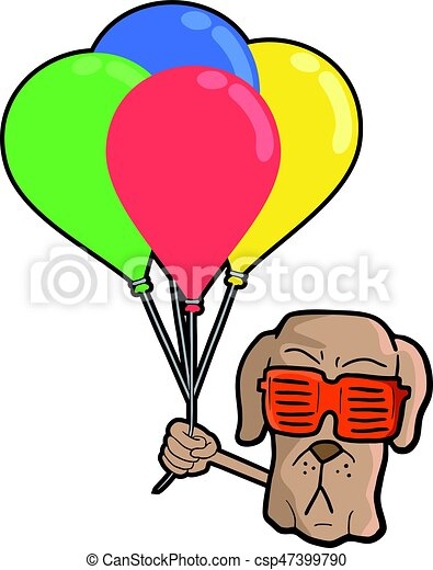 funny dog face with color balloons - csp47399790