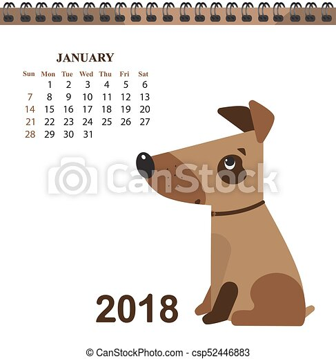 Funny Dog Symbol Of The Chinese New Year Calendar For Vector