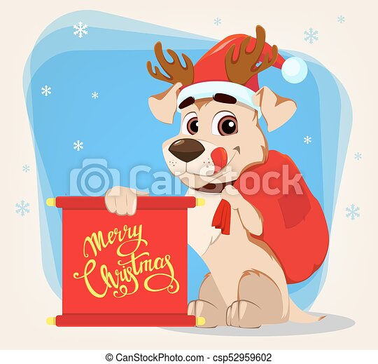 Merry christmas greeting card funny dog wearing santa claus hat and funny dog wearing santa claus hat and vector clipartcsp52959602g m4hsunfo