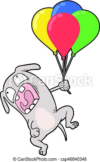 funny dog with color balloons - csp46840346