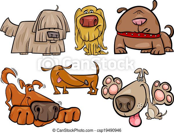 funny dogs set cartoon illustration - csp19490946