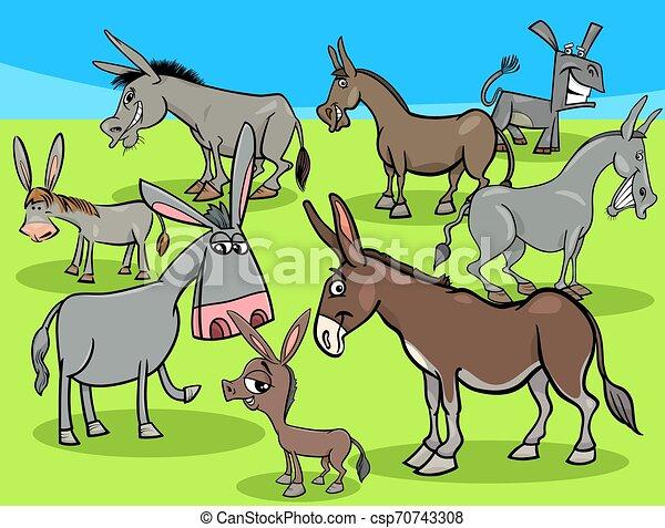 funny donkeys cartoon farm animals group - csp70743308