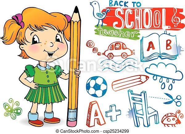 Funny doodles - Back to school. - csp25234299