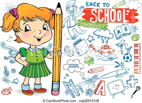 Funny doodles - Back to school. - csp25916108