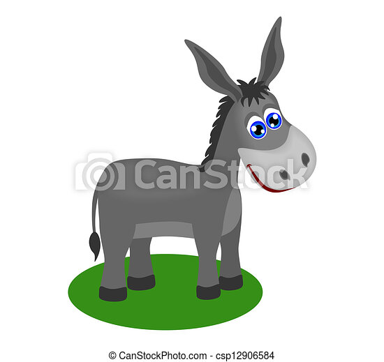 Funny drawing of cute donkey - csp12906584