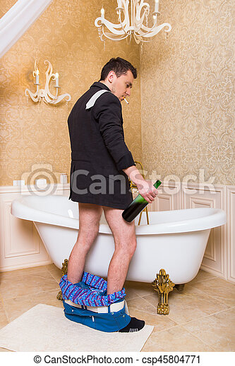 Funny Drunk Man Peeing In Luxury Bath Funny Drunk Man With A
