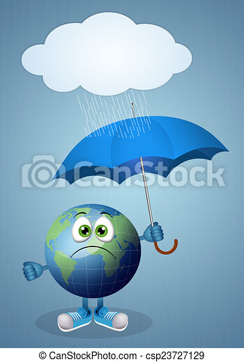 Illustration of funny earth with umbrella for rainy day.