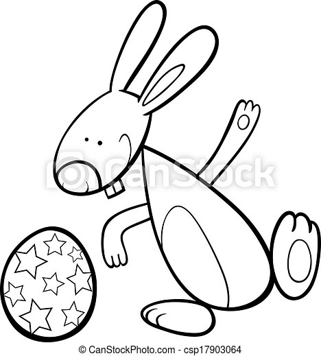 Funny easter bunny coloring page. Black and white cartoon ...