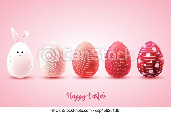 Funny Easter eggs on bright pink background - csp45628136
