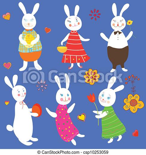 Funny easter rabbits set cartoons - csp10253059