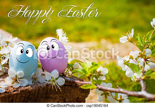 Funny eggs for Happy Easter - csp19045164