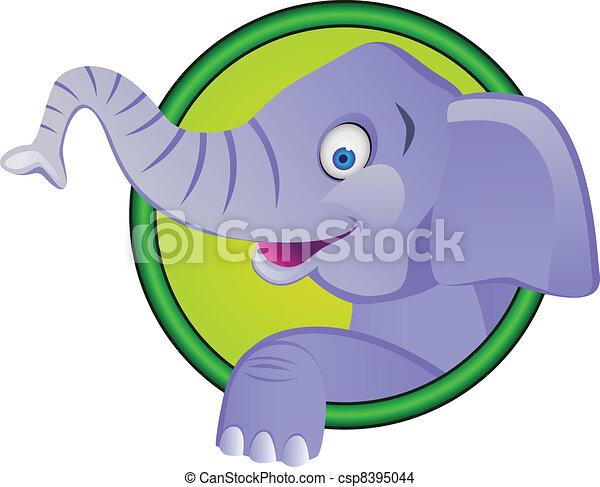 Funny elephant cartoon - csp8395044