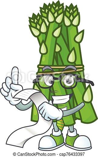 Funny face asparagus cartoon with menu ready to serve - csp76433397