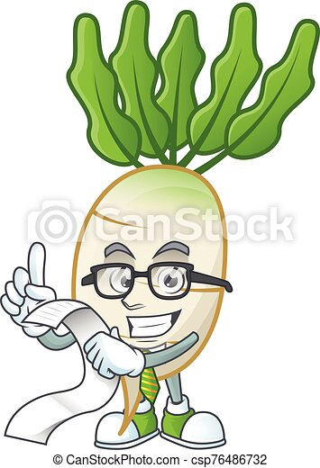 Funny face daikon cartoon with menu ready to serve - csp76486732