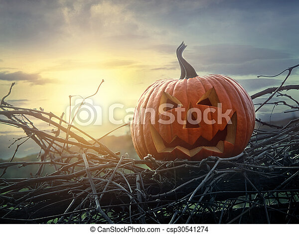 Funny face pumpkin sitting on fence - csp30541274