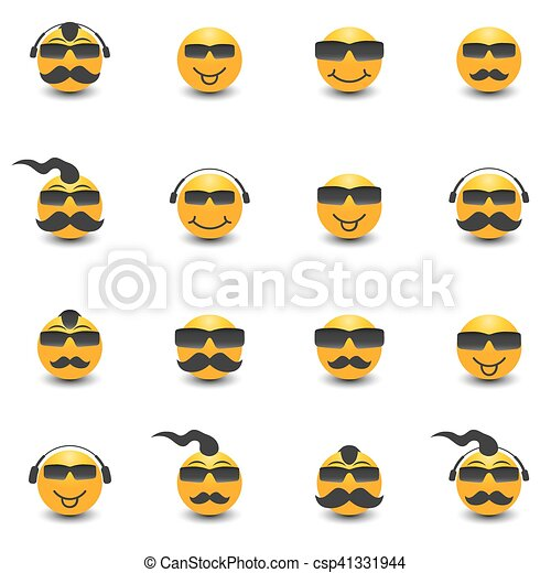 Funny face with a mustache and sunglasses, vector illustration. - csp41331944