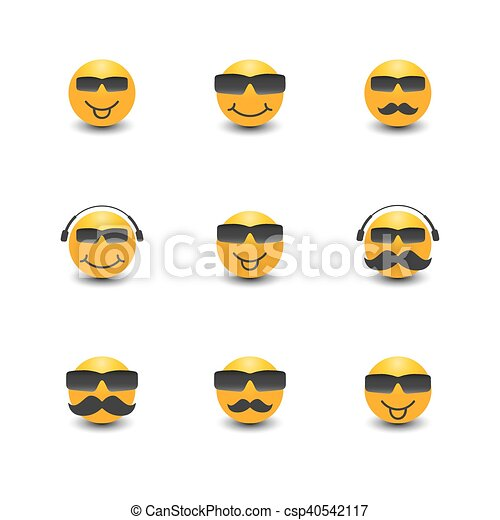 Funny face with a mustache and sunglasses, vector illustration. - csp40542117