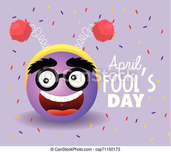 funny face with glasses to fools day - csp71150173