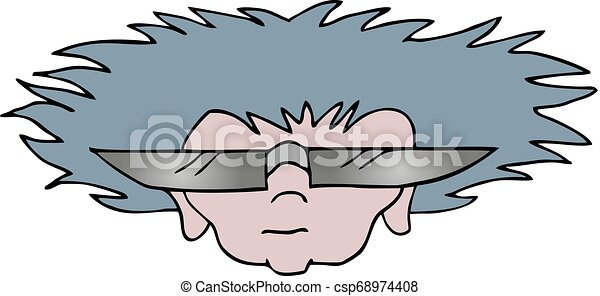 funny face with sunglasses - csp68974408
