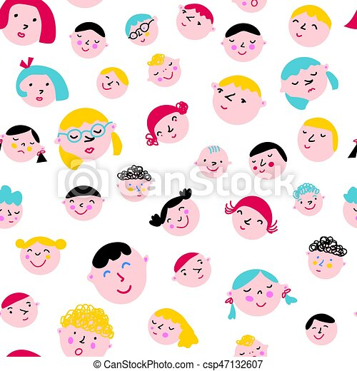 Funny faces seamless pattern - csp47132607