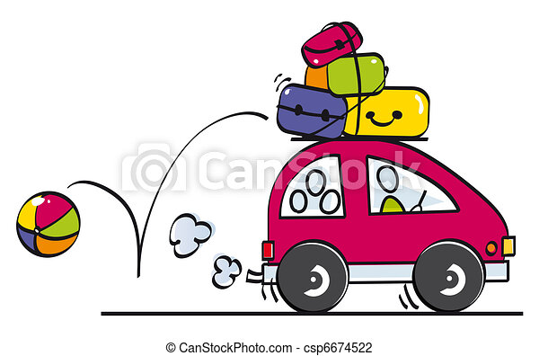 Funny Family Goes On Vacation Stock Illustration