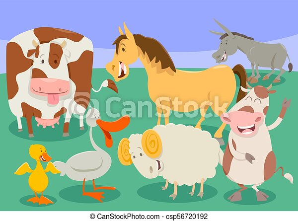 funny farm animal characters group cartoon - csp56720192