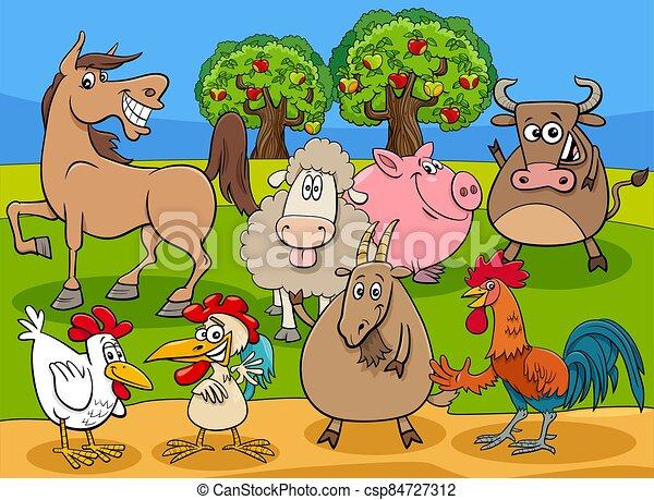 funny farm animals cartoon characters group - csp84727312