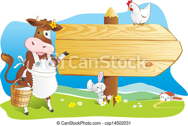 Funny farm animals wooden signboard - csp14502031