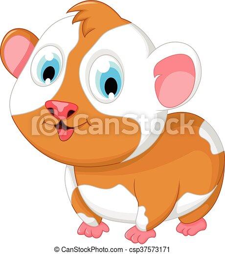 vector illustration of funny fat hamster cartoon posing
