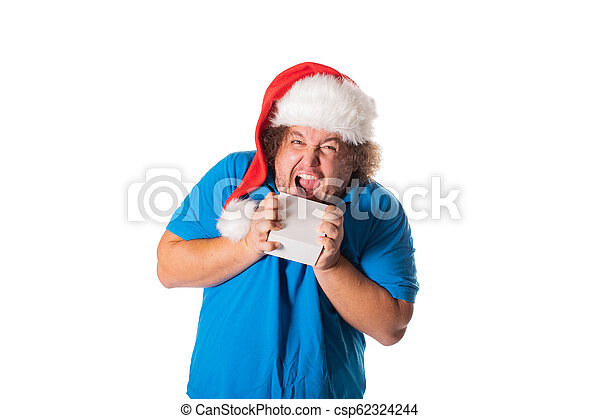 cbf6eb44d3a8d Funny fat man in santa hat with gifts. christmas and presents. emotions.
