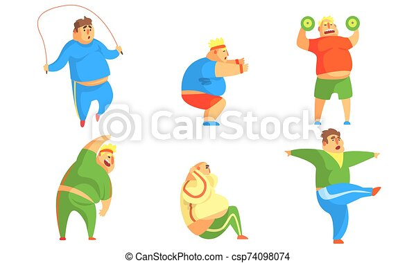 Funny Fat Men Exercising In The Gym Set Chubby Male Characters Doing Workout Vector Illustration On White Background