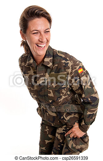 Funny female soldier - csp26591339