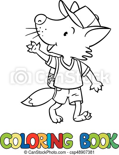 Funny fox with backpack. Coloring book - csp48907381